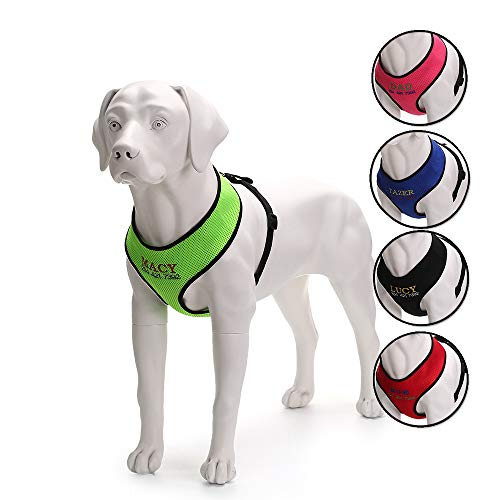 Oncpcare Durable Customize Dog Harness with Name, Embroidered Name Phone Number Pet Harness, Personalized ID Collar Soft Mesh Padded Collar Vest for Dogs -