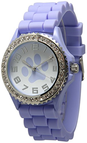 Geneva Paws Silicone Watch 5573 Puppy Love White Dial with Paws and Crystal Watch ()