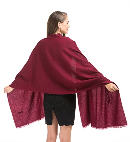 """Saferin 78""""x28"""" Cashmere and Wool Winter Shawl Wrap Scarf for Women With Gift Box (SSS-Burgundy)"""
