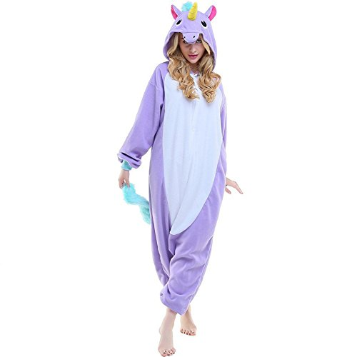 Adult New Kigurumi Cute Purple Unicorn Onesies Pajamas Cosplay Halloween Costume for Women Men M (Funny Cute Women Halloween Costumes)