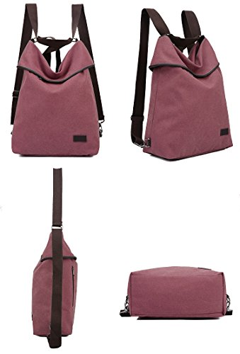Red Travel Purse Casual Daypack DLMBB Backpack Multifunction Women Canvas Bag Shoulder Crossbody x7PBqwR