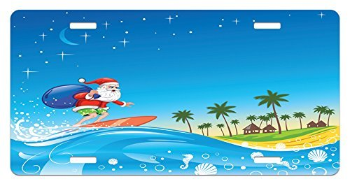 zaeshe3536658 Christmas License Plate, Surfing Santa on a Wave with Sack at the Beach Tropical Night Fantasy Cartoon, High Gloss Aluminum Novelty Plate, 6 X 12 Inches, Multicolor