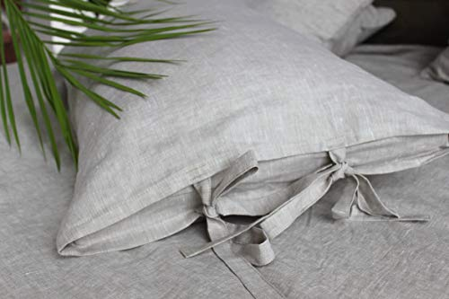 (Linen pillow sham with ties, standard, queen, king and square size, in natural linen oatmeal, white or off-white colors)