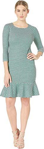 (eci Women's Long Sleeve Textured Knit Dress with Flounce Hem White/Green Medium)