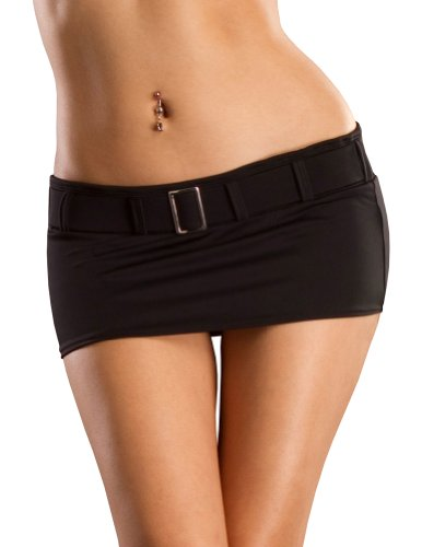 Skirt Mini Low Rise (Sexy Mini Skirt, Low Rise and Belted, Black Medium, Made in the USA)