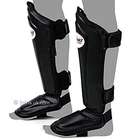 Twins SGL-10 Double Padded Leather Shin Pads Black