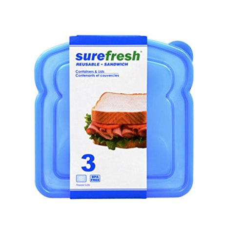 Sandwich Container & Lids, Pack of 3, Reusable Lunch Container Kit,Portable Food Storage Container, The perfect size for most sandwiches, they can also be used to store leftovers and side dishes.