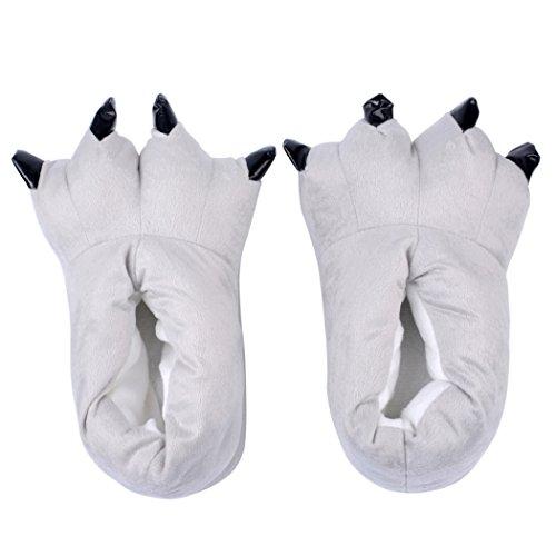inkint Zapatos de Garras de Dinosaurio Zapatillas Calientes para Ninos/Adultos de Invierno la Pata Zapatillas para Halloween Carnaval Cosplay La Pata de Las Garras Gris