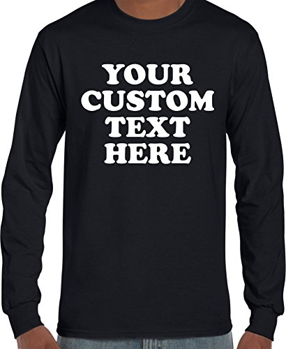 Custom Front Long Sleeve T-Shirt (Unisex, Youth/Adult) - Add Your Custom Text Black