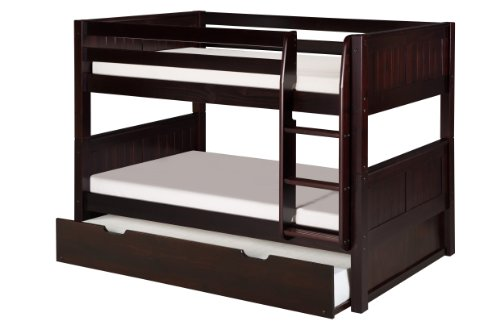 Camaflexi Panel Style Solid Wood Low Bunk Bed with Trundle, Twin-Over-Twin, Side Attached Ladder, Cappuccino