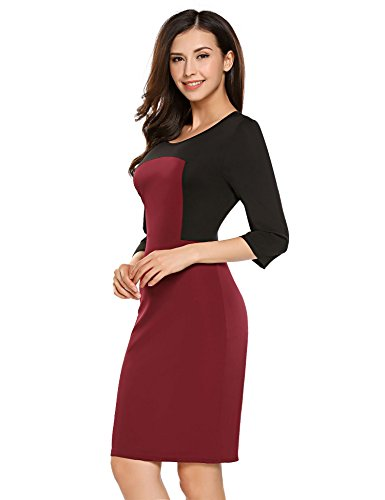 Pencil Women Bulges Color 3 Dress Bodycon Contrast 4 Black Sleeve Short Patchwork TT8dwq
