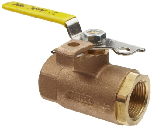 Apollo 75-100 Series Bronze Ball Valve with Automatic Drain, Two Piece, Inline, Lockable Lever, 3/4