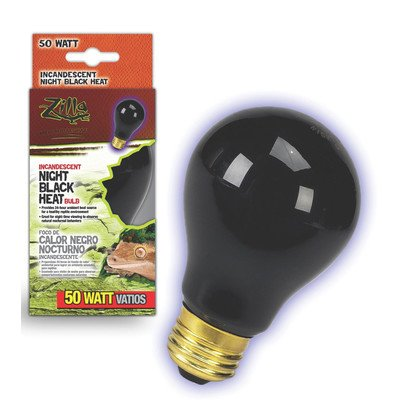 Night Black Heat Incandescent Bulb for Reptiles [Set of 2] Watt: 100 Watts (100 Watt Reptile Night Light)