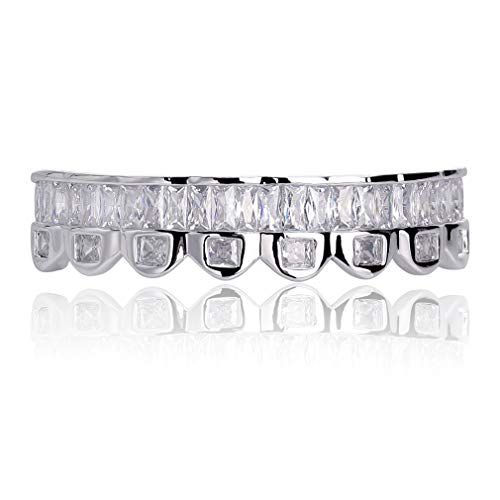TOPGRILLZ Custom Baguette Iced Out Silver Top and Bottom Grills for Your Teeth Hip Hop Men Accessory (Silver Bottom)