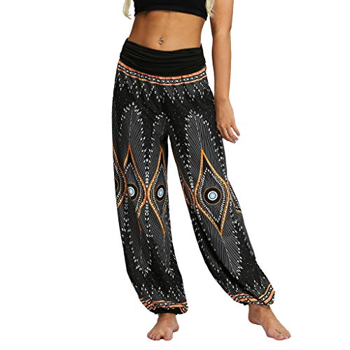JOFOW Harem Pants Womens Ethnic Patterned Print Long Yoga Bloomers Loose High Waist Casual Sport Baggy Pajamas Trousers Gift (XL,Black) Double Stretch Oil Tan Belt