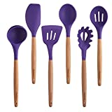 purple wooden spoons - Purple Cooking Utensils, 6 Pieces Natural Wooden Kitchen Utensil Set BPA Free - Silicone Nonstick Heat Resistant Cooking Tools by Maphyton
