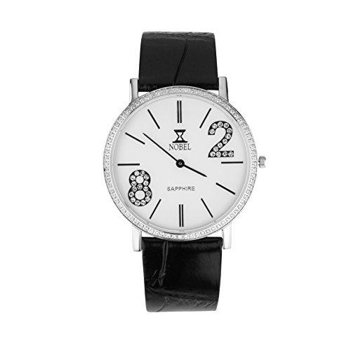 NOBEL Premier Collection Classy Wrist Watch with Set CZ Stones for Unisex - Swiss Quartz Movement