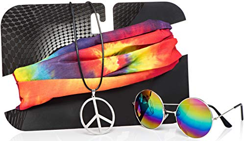 Hippie Costume Set for Women & Men. Kit Includes Sunglasses, Peace Sign Necklace & Headband to Make...