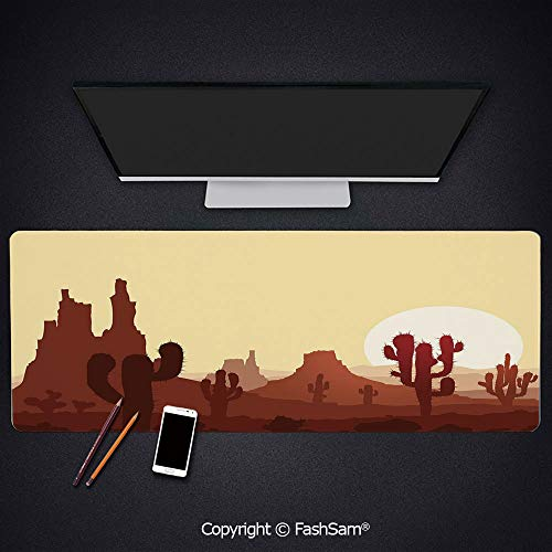 Desk Gaming Mouse Pad Non-Slip Arid Country Landscape with Sunset in Stone Desert Saguaro Mountains Decorative Keyboard Pad for Office Desktop(W35.4xL15.7)