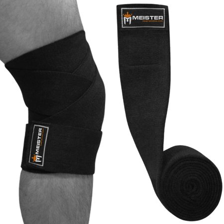 2 X Black Knee Wrap Power Weight Lifting Squats Support - 2