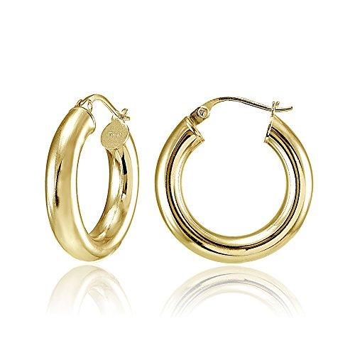 Hoops & Loops Flash Plated Gold Sterling Silver 4mm Polished Round Hoop Earrings, 25mm