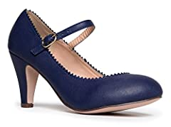 Let your heart beat for these adorable mary jane pumps! Look cute and stylish with round toe, kitten pumps that have 3 teardrop cutouts on the side and a single strap with an adjustable buckle across the vamp.