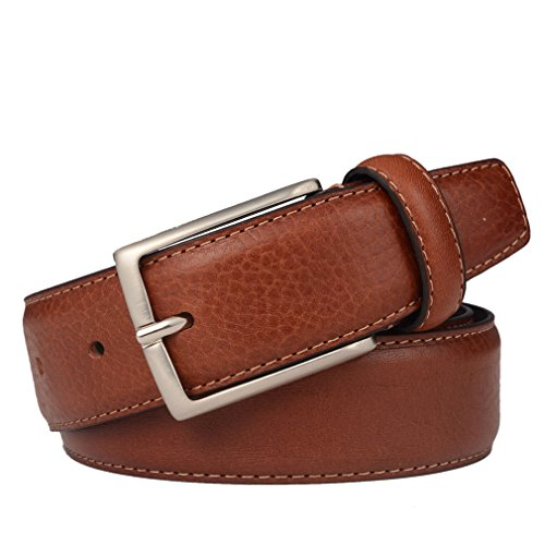 "Tan Belt - Men Genuine Leather Dress Belt with Single Prong Buckle, 1.3""width 40"