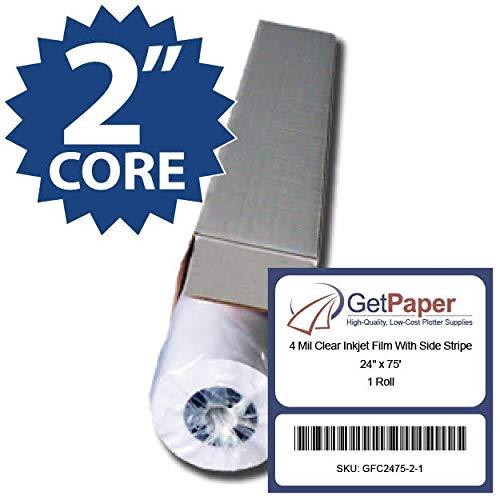 4 Mil Clear Inkjet Film With Side Stripe - 24'' x 75' - 1 Roll