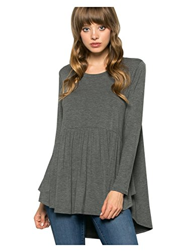 My Space Clothing Women's Baby doll Jersey Tunic Top (Plus size Available) (2X Plus, 92_Heather Charcoal)