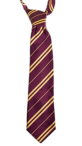[Maroon with Yellow Stripe Tie Costume Accessory Necktie for Unisex Children&Adult] (Ron And Hermione Costumes)