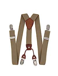 """Child Kids Suspenders - 1"""" Adjustable Y-Back 4 Clips Suspender for Boys & Girls - Khaki"""