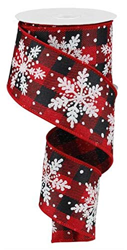 (Glittered Snowflake Wired Edge Ribbon - 10 Yards (Red, Black, White, Silver, 2.5