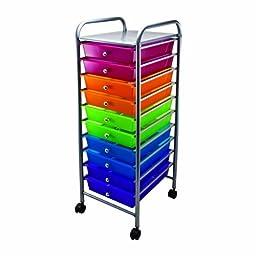 Advantus 10-Drawer Rolling Organizer, 37.6 x 13 x 15.4 Inches, Multi-Colored (AVT34004)