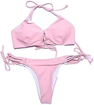 Erica Bikiníes de bandage de la playa de las mujeres dos pedazos fijaron bragas del color sólido del sujetador del bragas sujetador rellenado sin hilos ...