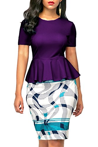 KISSMODA Womens Short Sleeve Bodycon Midi Dresses for Work Purple Large (Peplum Waist Dress)