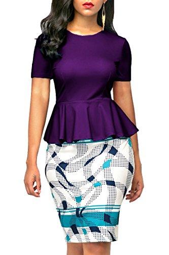 KISSMODA Womens Short Sleeve Bodycon Midi Dresses for Work Purple Large (Waist Peplum Dress)