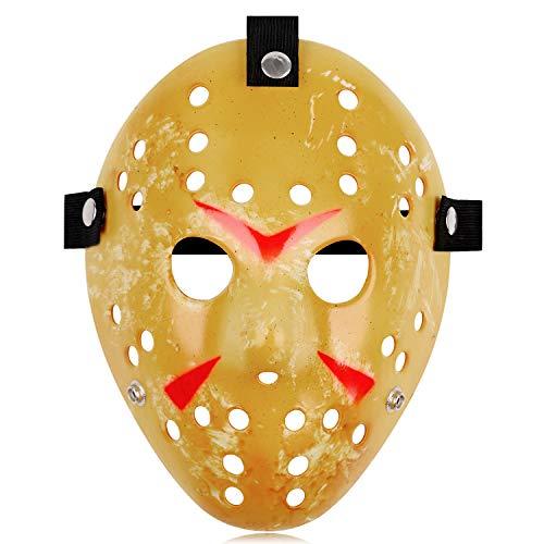 Jason Full Face Head PVC Hockey Mask Novelty Costume Party Horror Prop Halloween Festival Mask (Mellow Yellow)