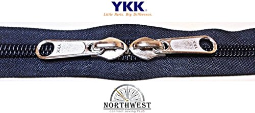 YKK #10 Zipper coil chain with 2 sliders per yard. MANY COLORS. Sold in 5-yard lots. Please see our other listing for size 5 & size 8 (5 yard & 10 nickel sliders, Black)