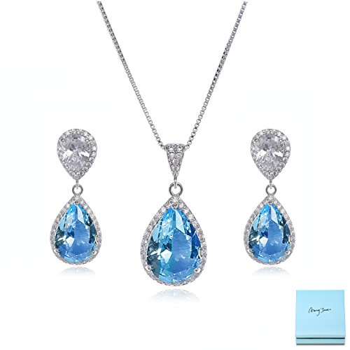 Bridal Jewelry Set for Women - Sterling Silver Teardrop Aquamarine Cubic Zirconia Crystal Rhinestone Drop Earrings and Necklace Bridal Jewelry Sets Best Gift for Bridesmaids Crystal Drop Bridal Necklace