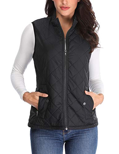 Women's Stand Collar Lightweight Padded Zip up Sleeveless Vest Warm in Winter Quilted Gilets Black X-Small