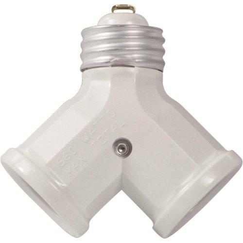 Leviton 128-W 15 Amp 660W Twin Light-Socket Adapter, White