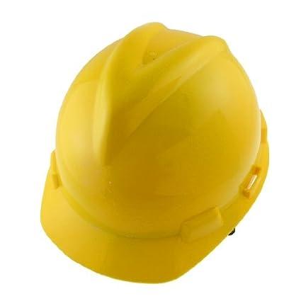 DealMux amarillo protector de plástico duro de seguridad de construcción del sombrero del casco