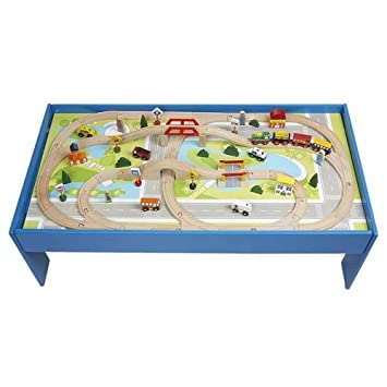 Wood Toy Train Track and City 100pc Table Set, BRIO and Thomas ...
