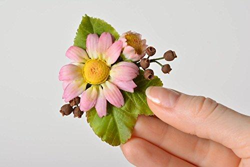 Broche De Arcilla Polimérica Japonesa Artesanal Con Forma De Flor De Camomila