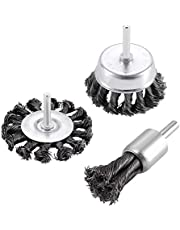 """TILAX 3'' Wire Wheel Cup Brush End Brush Set 3 Pcs, Wire Brush for Drill 1/4 Inch Arbor 0.019"""" Carbon Steel Knotted Wire Brush Drill Bit, Drill Wire Brush Attachment, Rust Removal"""