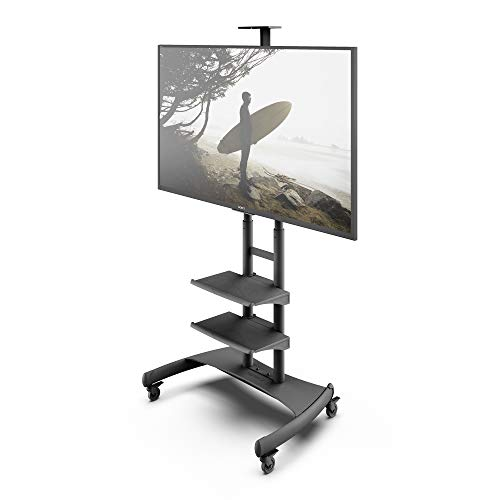 Kanto MTM82PL2 Height Adjustable Mobile TV Stand with Two Adjustable Shelves for 50-inch to 82-inch TVs