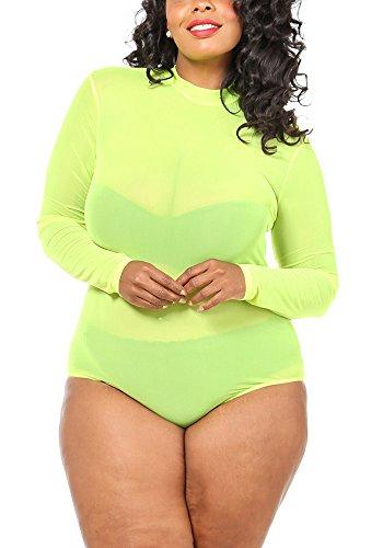 Karies Womens Plus Size Sheer Mesh Sexy Mockneck One Piece Long Sleeves Bodysuit(GKJ5263) (1X Plus, Neon Yellow)