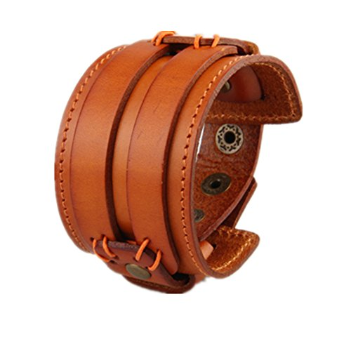 COOLLA Wide Braided Genuine Leather Mens Bracelet Bangle Cuff (Orange) (Bracelets Orange Genuine)