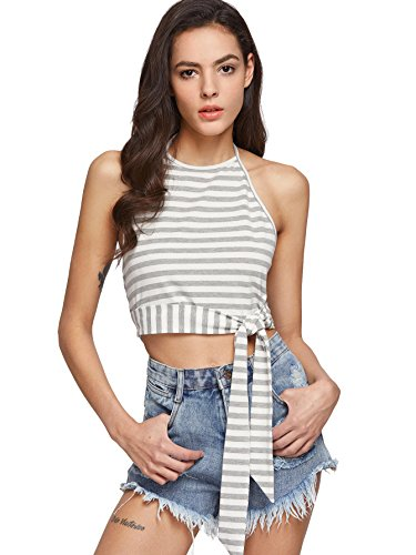 Cotton Striped Halter Top - 1