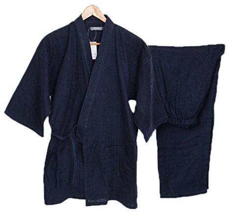 Soojun Men's Solid Color Kimono Top with Pocket and Pant Pajamas Set, Style 1, Navy by Soojun